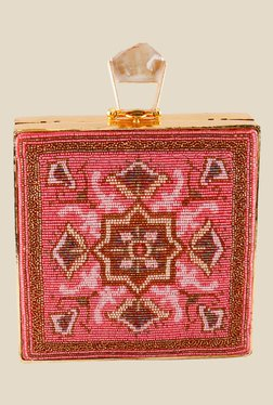 Rossoyuki Pink Beaded Box Clutch