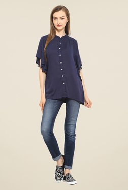 Free & Young Navy Solid Shirt