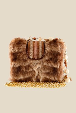 Rossoyuki Brown Beaded Clutch