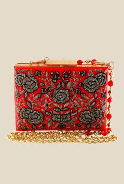 Rossoyuki Red Floral Embellished Clutch