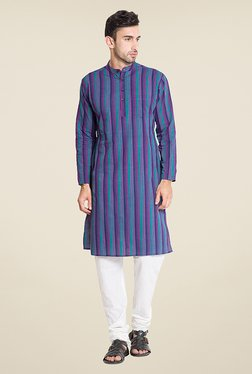 Svanik Blue Striped Kurta