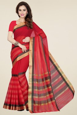 Ishin Red & Black Cotton Printed Saree