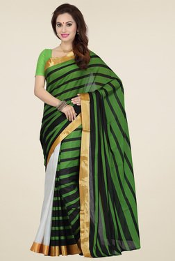Ishin Green & Black Cotton Printed Saree
