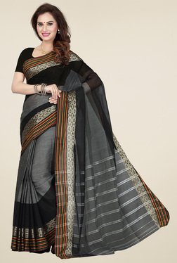 Ishin Grey & Black Cotton Printed Saree
