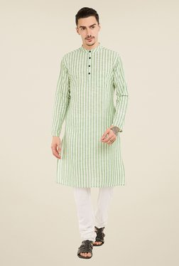Svanik Green Striped Kurta