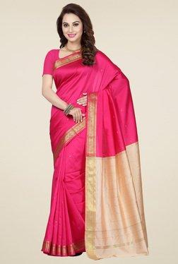 Ishin Pink Poly Silk Printed Saree