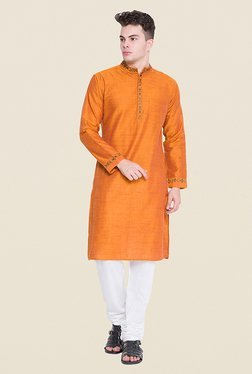 Svanik Orange Textured Kurta