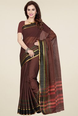 Ishin Brown Cotton Printed Saree