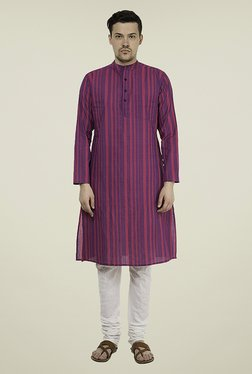 Svanik Purple Striped Kurta