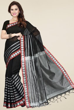 Ishin Black & Silver Cotton Printed Saree