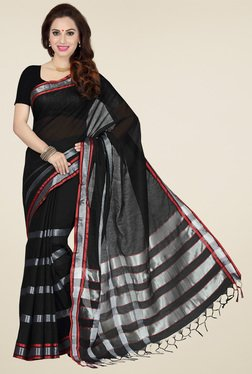 Ishin Black Cotton Printed Saree