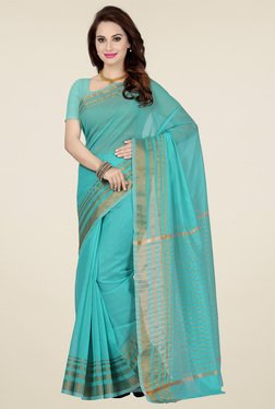 Ishin Blue Cotton Printed Saree