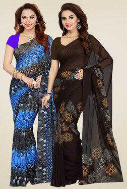 Ishin Blue & Brown Sarees (Pack Of 2)