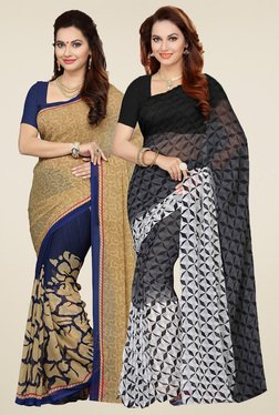 Ishin Beige & Black Printed Sarees (Pack Of 2)