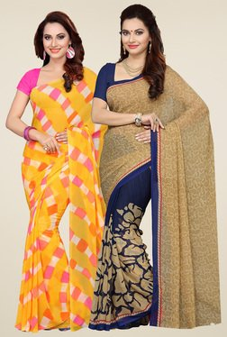 Ishin Yellow & Beige Printed Sarees (Pack Of 2)
