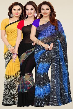 Ishin Yellow, Black & Blue Printed Sarees (Pack Of 3)