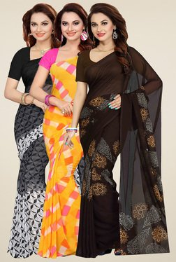 Ishin Black, Yellow & Brown Printed Sarees (Pack Of 3)