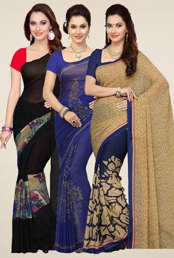 Ishin Black, Blue & Beige Printed Sarees (Pack Of 3)