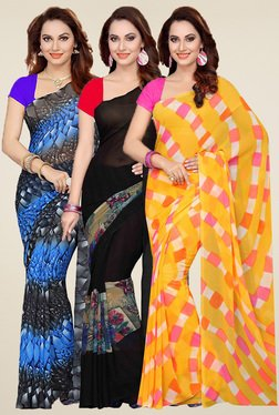 Ishin Blue, Black & Yellow Printed Sarees (Pack Of 3)