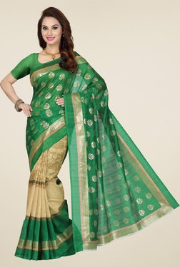 Ishin Green Printed Bhagalpuri Silk Saree