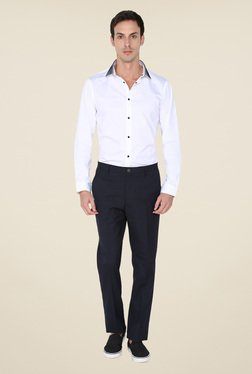Arrow New York Navy Solid Trouser - Mp000000000719409