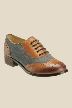 Hats Off Accessories Blue & Tan Brogue Shoes