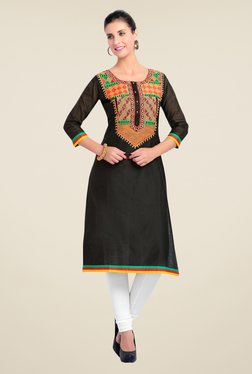 Zola Black Embroidered Kurta