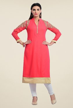 Zola Peach Embroidered Kurta