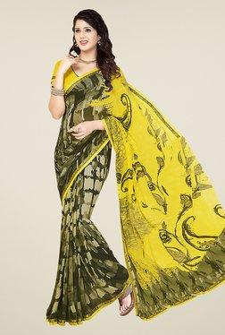 Ishin Olive & Yellow Half & Half Printed Chiffon Saree