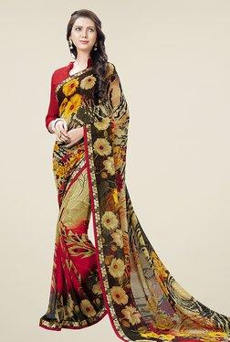 Ishin Multicolor Half & Half Floral Print Chiffon Saree