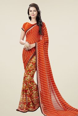 Ishin Orange Half & Half Printed Chiffon Saree