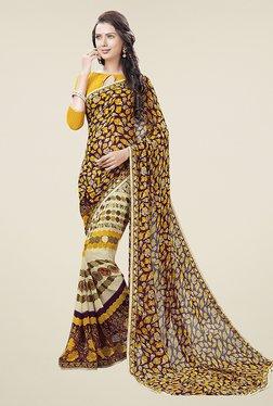 Ishin Beige & Purple Half & Half Printed Chiffon Saree
