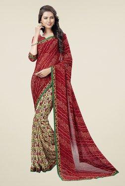 Ishin Beige & Red Half & Half Printed Chiffon Saree