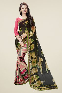 Ishin Multicolor Half & Half Printed Chiffon Saree - Mp000000000722020
