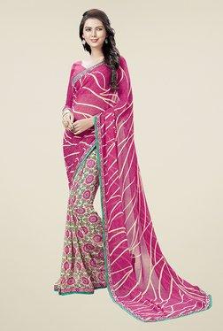 Ishin Beige & Pink Half & Half Printed Chiffon Saree