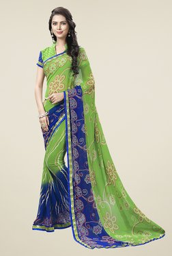 Ishin Green Half & Half Printed Chiffon Saree