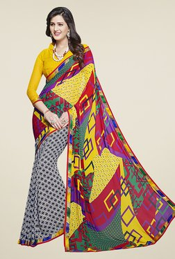 Ishin Multicolor Half & Half Printed Chiffon Saree - Mp000000000722044