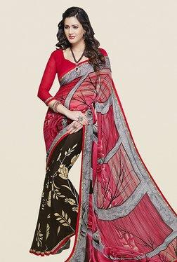 Ishin Brown & Pink Half & Half Printed Chiffon Saree
