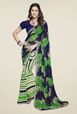Ishin Green & Navy Half & Half Printed Chiffon Saree