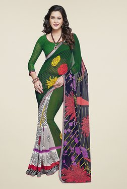 Ishin Grey & Green Half & Half Printed Chiffon Saree