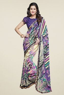 Ishin Multicolor Half & Half Printed Chiffon Saree - Mp000000000722076