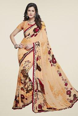 Ishin Peach Half & Half Printed Chiffon Saree