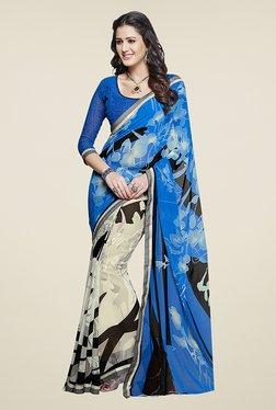 Ishin Grey & Blue Half & Half Printed Chiffon Saree