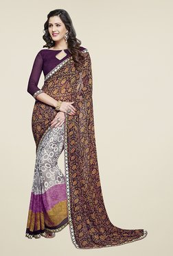 Ishin Grey & Purple Half & Half Printed Chiffon Saree
