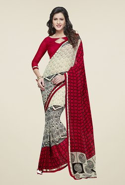 Ishin Off White & Red Half & Half Printed Chiffon Saree