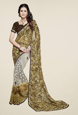 Ishin White & Beige Half & Half Printed Chiffon Saree