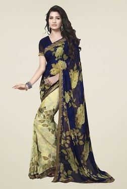 Ishin Beige & Navy Half & Half Floral Print Chiffon Saree