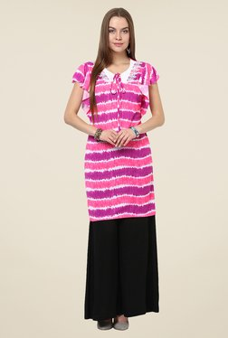 Yepme Larissa Frill Pink Printed Tunic