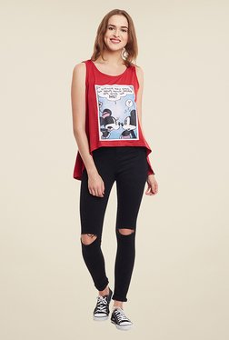 Yepme Disney Angry Minnie Red Printed Top