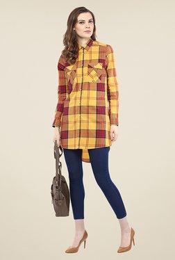 Yepme Lorina Yellow Checks Shirt Top